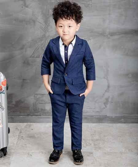 ea5c48fd4 ... Formal azul/rojo niños trajes ropa niños traje para bodas algodón  sólido Blazer niños trajes