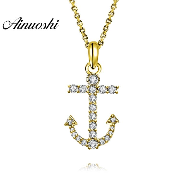 AINUOSHI 10K Solid Yellow Gold Pendant Arrow Pendant SONA Diamond Women Men Gold Jewelry Delicate Tool 1.6g Separate Pendant