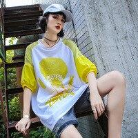 Summer Girl T Shirt Harajuku Tops loose casual hiphop cotton T shirts Half Sleeve Medium Long Tees