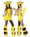 Новый высокое качество Сексуальная Взрослых Плюшевые Желтый Животных Хэллоуин Костюмы Пикачу Костюм Талисмана Косплей Для Женщин Партийных Униформа Указан