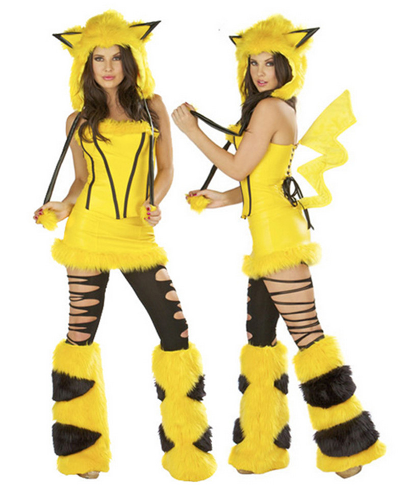new high quality sexy adult plush yellow animal halloween costumes pikachu mascot cosplay costume for women - High Quality Womens Halloween Costumes
