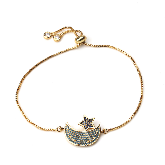 1pc Fashion Box Chain Moon Star Charms Bracelet Bangle For Women S Kids Simple Round