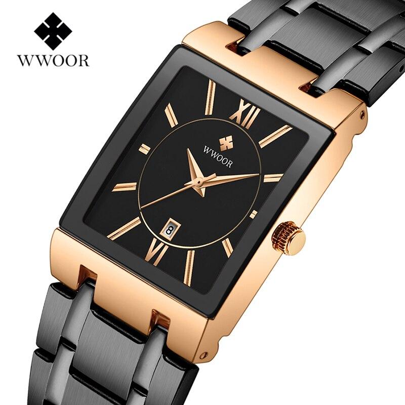 2019WWOOR Luxury Top Brand Rectangle Dial All Steel Strap Waterproof Casual Quartz-Watch Men Sports Wristwatch Relogio Masculino