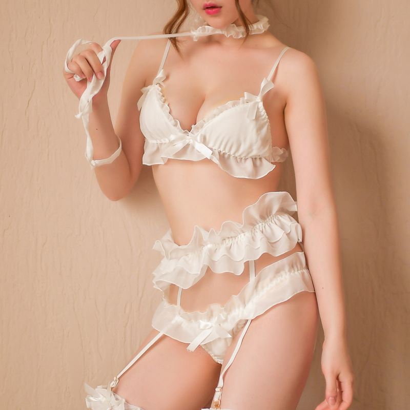 Women Sexy Hot Lingerie Lace Chiffon Ruffles Bondage Rope Collar Bra Panties Garter Leg Ring Underwear Set Women's Intimates
