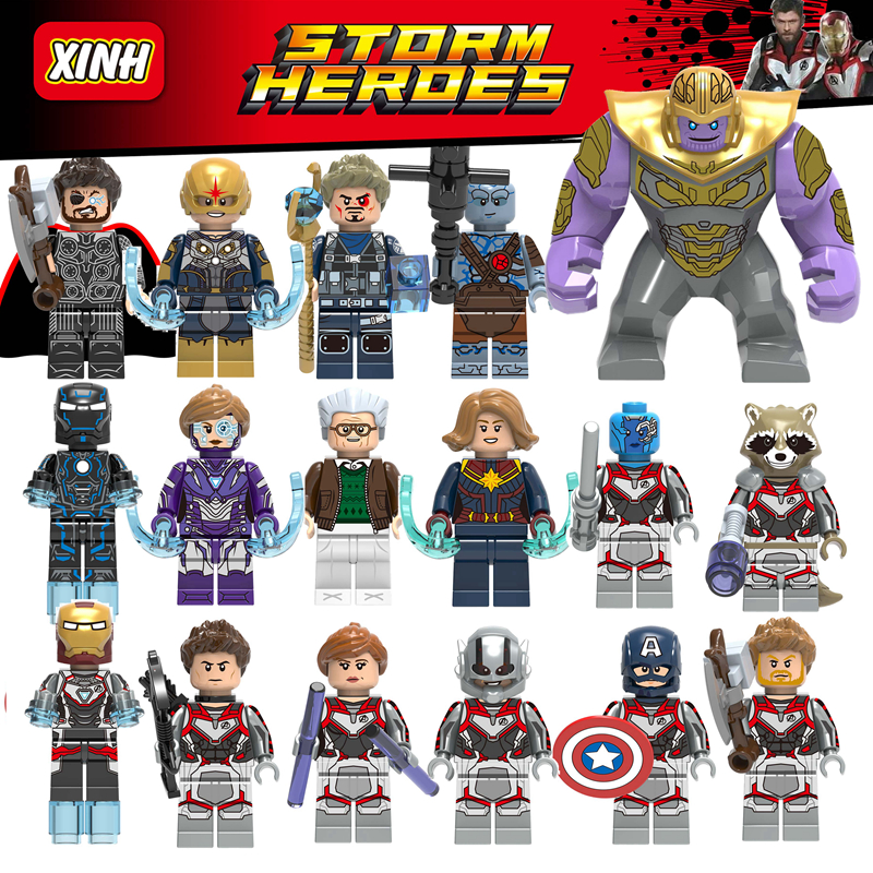 Avengers 4 Captain Marvel America Thor Iron Man Black Widow Thanos Toys Super Heroes Building Blocks Compatible With Lego