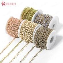 50 см ширина 6 мм 24 К золото цвет латунь и стекло цепочка с бусами Высокое качество Diy ювелирных изделий Аксессуары