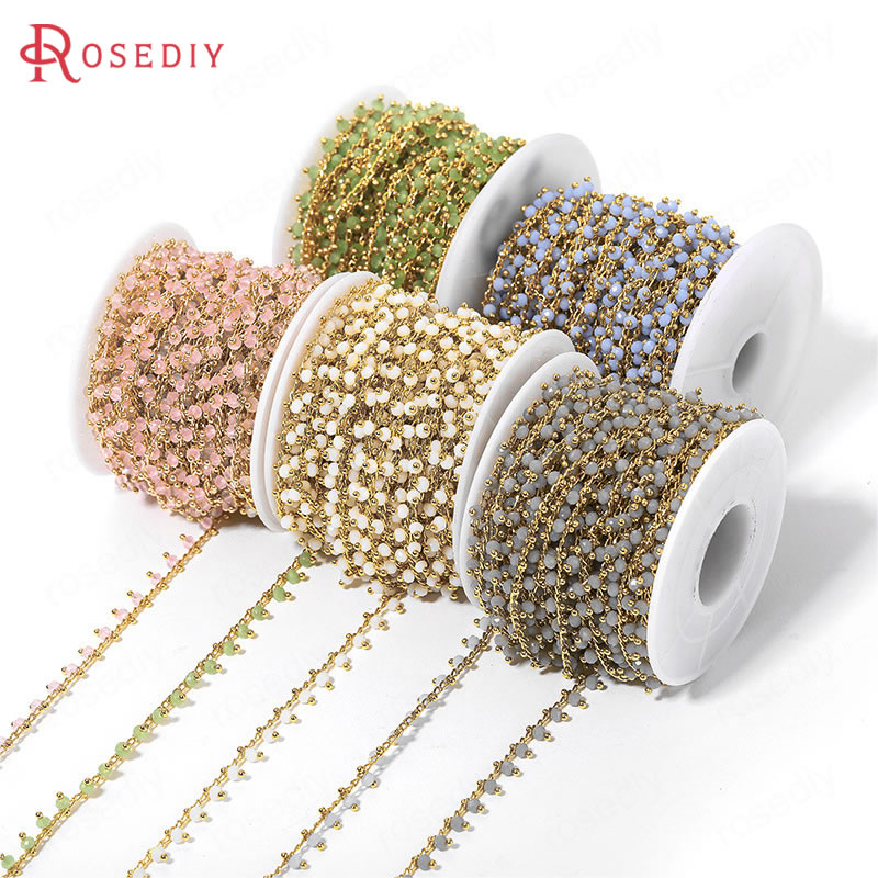 50CM Width 6MM 24K Gold Color Brass And Glass With Beads Necklace Chains High Quality Diy Jewelry Findings Accessories