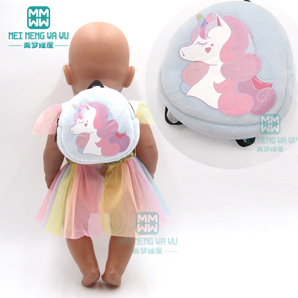 Accessories For Doll Fit 43cm Baby New Born Doll Cartoon Plush Backpack Pink, Red, Blue