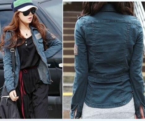 f924e765cd5 Free Shipping 2013 turn-down collar applique zipper long-sleeve denim  outerwear fashion denim coat female slim short jacket