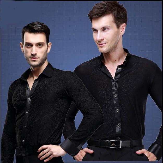 US $24.02 10% di SCONTO|Vendita calda Nuovo 2017 Plus Size Nero Valzer Ballo Latino Top Ballo latino Uomini Camicie Uomo Camicia Da Ballo Sala Da