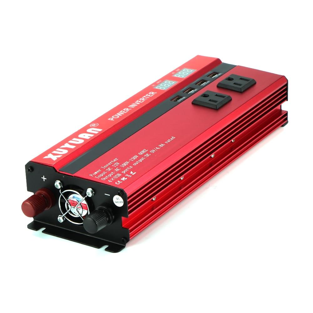 4000W 5000W Car Power Inverter LED DC12 24V to AC110 220V Sine Wave Converter 4 USB