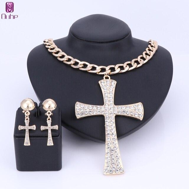 Conjunto de joyería de cruz etíope, collar de diamantes de imitación de cristal de Color dorado, pendientes de África, regalos de boda, joyería de decoración de novia