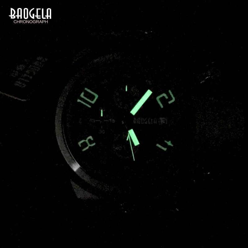 BAOGELA herren Chronograph Quarz Uhren Weichen Silikonband Sport Analog Armbanduhr für Mann Wasserdicht Leucht 1606 grün