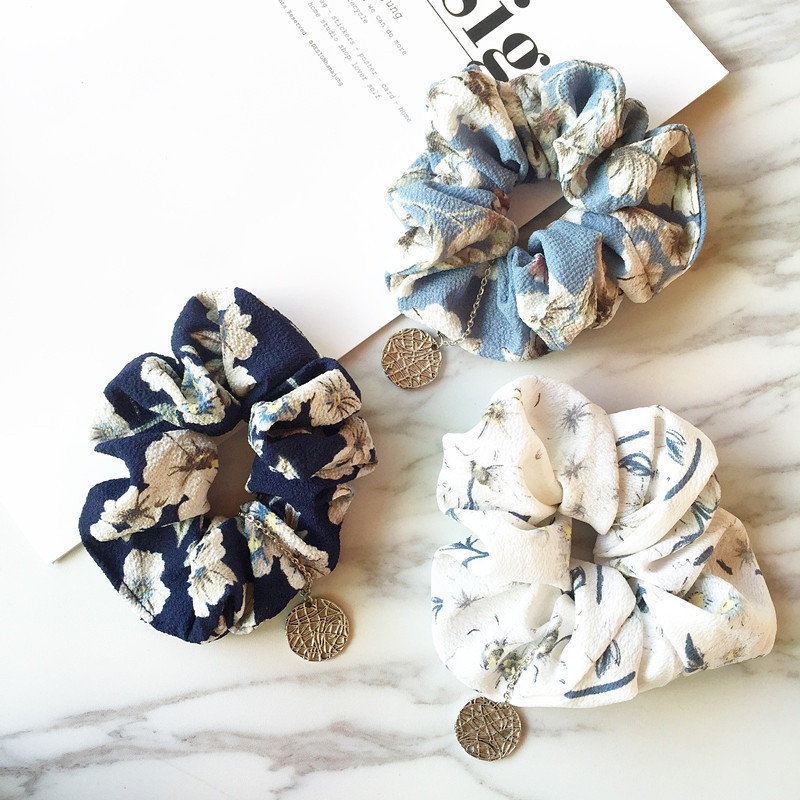 Unique Flower Print Hair Scrunchies   Headwear   For Women Silver Coin Pendant Ponytail Holder Hair Ties Ropes Elastic Hair Bands