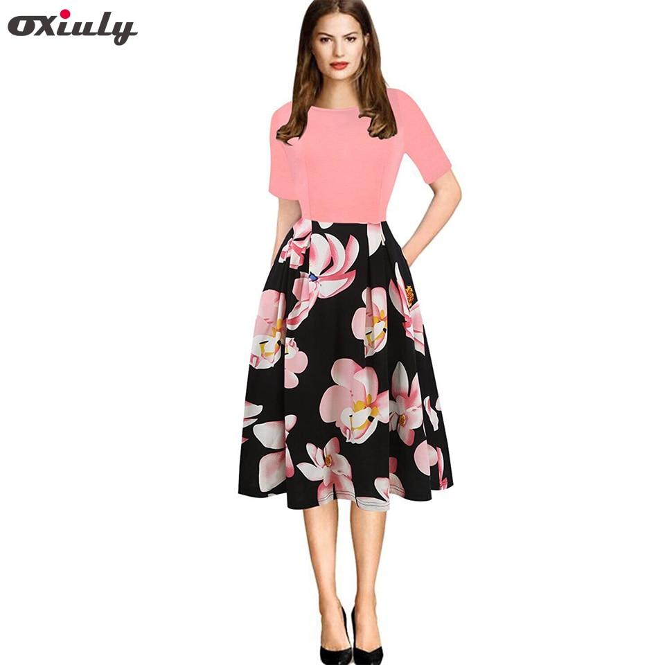 Oxiuly wanita Vintage Polka Dot Floral Print Patchwork Musim Panas - Pakaian Wanita - Foto 2