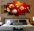 5 Peça Pintura A Óleo Da Lona Cuadros Decoracion Imagem Modular HD Impressão Pinturas Parede Pictures Para Sala de estar Vaso de Flor