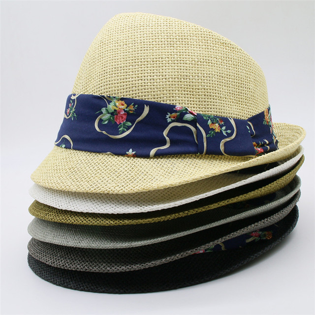 Estate Donna Uomo Paglietta cappello di Paglia Spiaggia Cappello Da Sole  Con Strisce Raso floreale Per faf12603be4e
