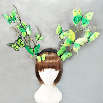 Women's Gothic Tree Branches Antler Hair Accessories Butterfly Hairband Photography Costume Headpiece