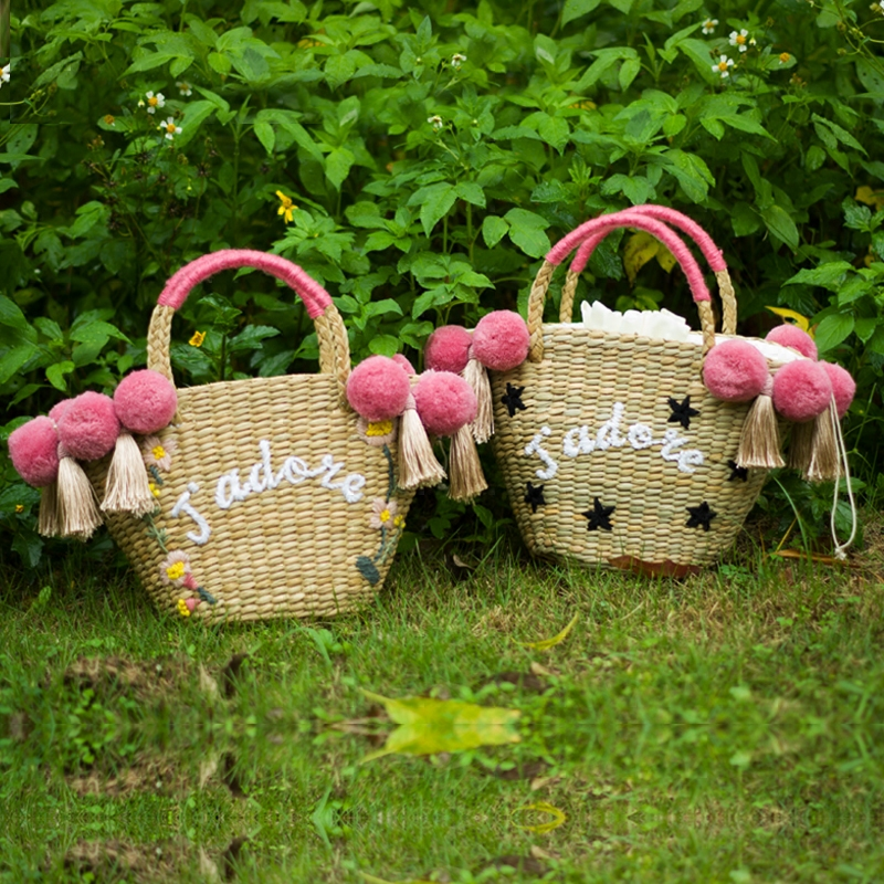 DIY Customized name beach bag straw totes bag large Jumbo summer bags embroidery flower women letter Flora handbag new arrivals casual letter embroidery arrow straw hat