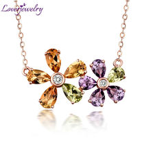 Beautiful Lovely Design Solid 18Kt Rose Gold Pear cut Amethyst Peridot Citrine Pendant Diamond Fine Jewelry for Women