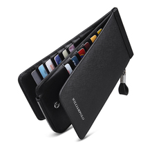 WILLIAMPOLO Men Wallet Genuine Leather Card Holder for Men Bank Credit Card ID Holders Brand Large Capacity Luxury Card Case