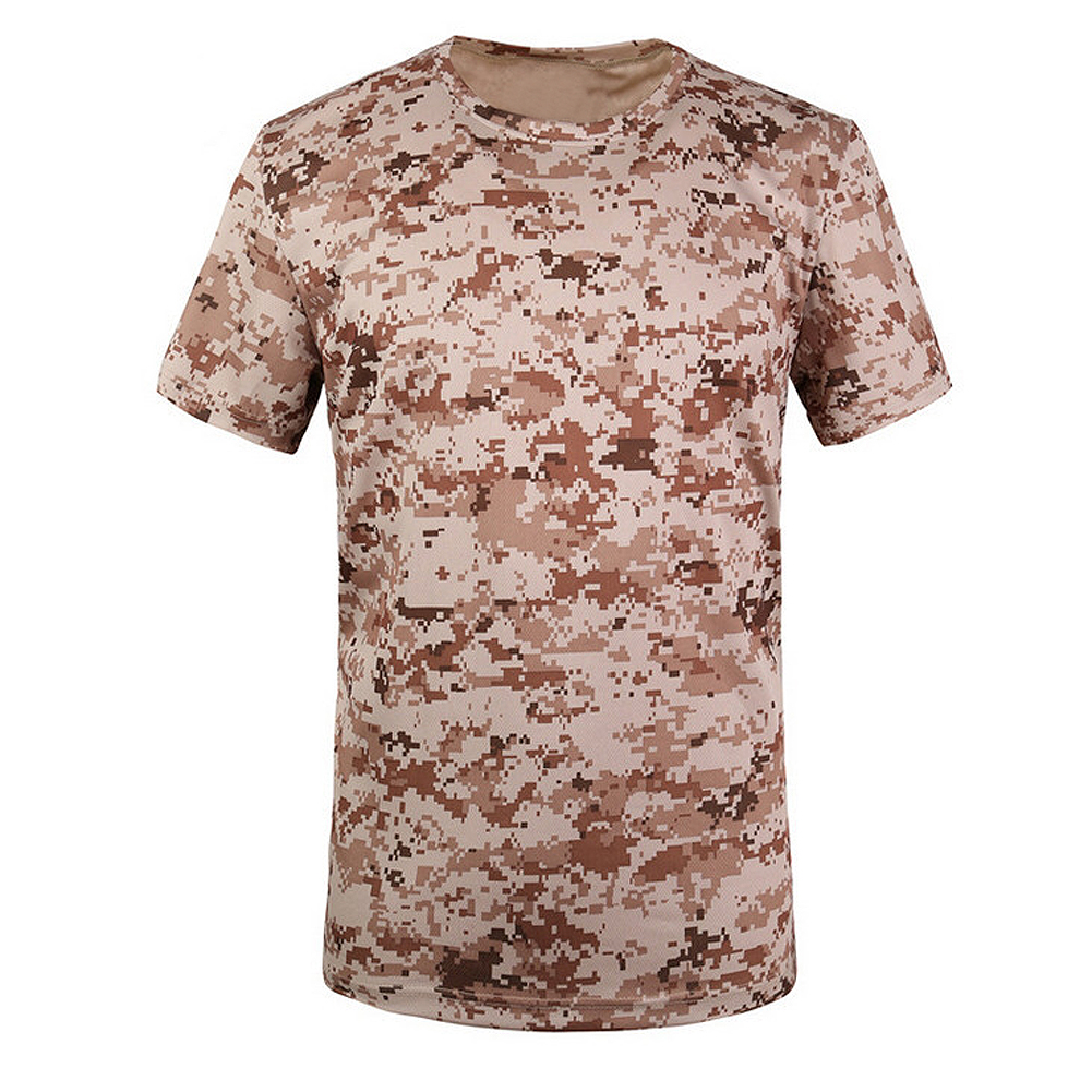 New Outdoor Hunting T-shirt Men Breathable Army Tactical Combat T Shirt Military Dry Sport Camo Camp Tees-ACU yellow