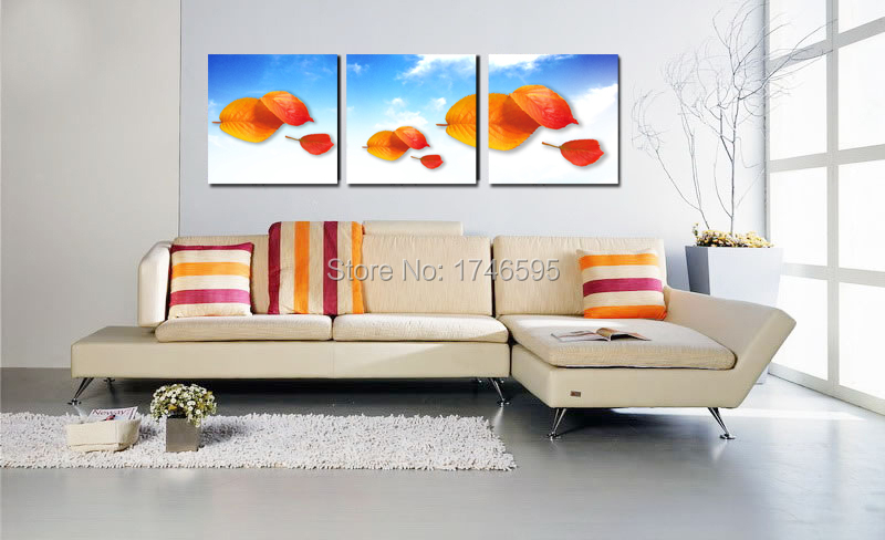 Big 3pieces home wall art decor abstract orange leaves Wall Art picture  living room bedroom wall decor canvas print oil Painting