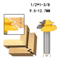"""2 3 3 1/2"""" Shank Wood Cutter Router Bit 45 Degree Lock Miter Milling Cutter Width 1-3/8"""" Wood work Tenon Tool For Woodworking Tool (2)"""