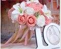 2017 Barato Nueva Llegada Romántico Rosa y Blanco de Dama de Honor Nupcial Hecho A Mano Rosa Artificial de La Boda/la Dama de honor Ramos de Flores de Accesorios