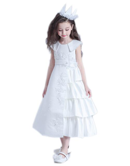 Girls Wedding Formal Dresses 2018 Sleeveless Satin Pearl Flowers Girls Princess Dress Kids Long Birthday Party Dress White 3-13Y