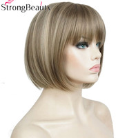 Strong Beauty Women Bob Wigs Synthetic Short Straight Cosply Wig For Women 10 Inches
