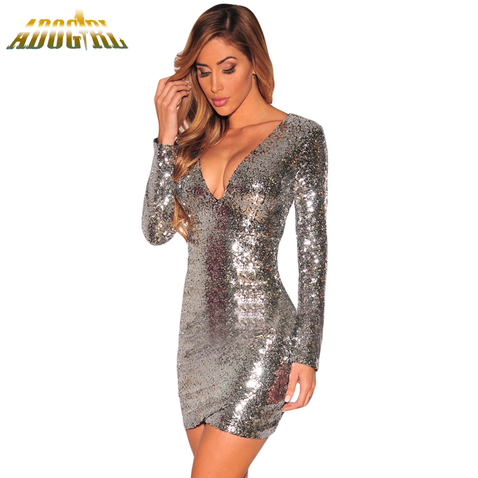 Buy Cheap Adogirl Autumn Woman Party Dress Sexy Deep V Neck Pink Silver Ruched Sequin Long Sleeve Nightclub Slim Dress Vestido De Festa