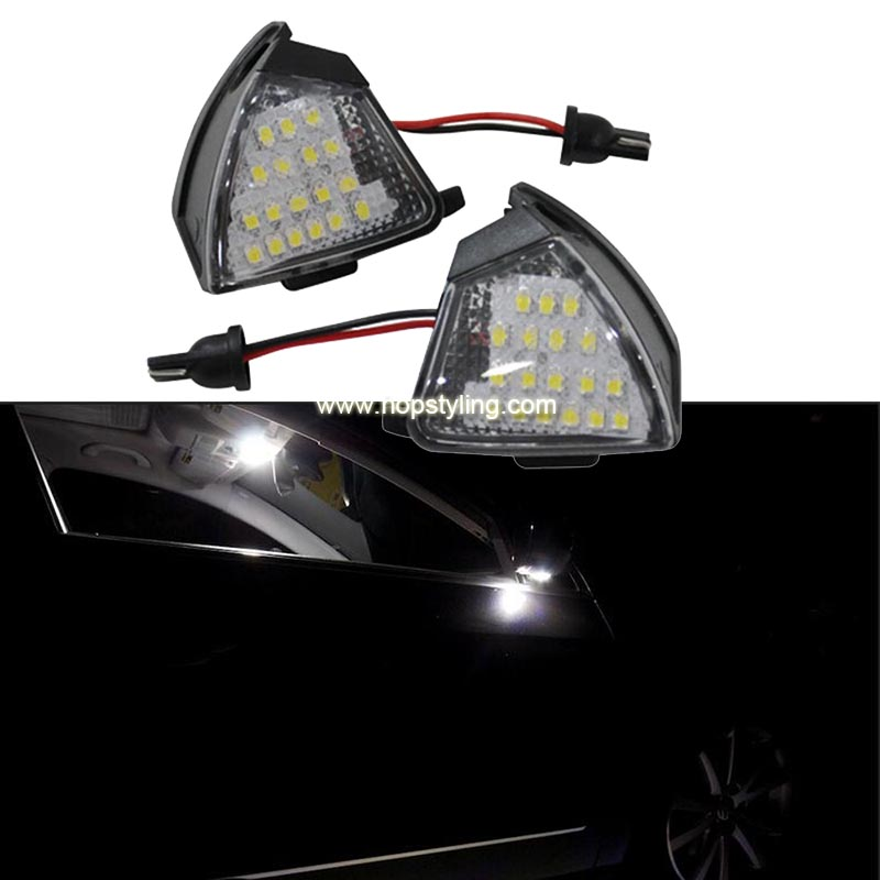 HOPSTYLING 2Pcs შეცდომა უფასო LED ქვეშ გვერდითი სარკის მსუბუქი Puddle ნათურა VW Golf 5 MK5 MKV R36 Passat b6 Jetta Eos შეცვლა