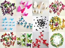 Many Colors 3D Butterfly DIY Stickers Wall Stickers Fridge Magnet Wedding Decoration Decors Art Home Decoration цена 2017