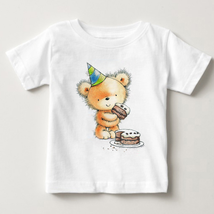 T Shirts baby boys and girls 2018 Summer Short Sleeve Casual White Tee Shirt girls tshirt Bear Teddy Tops Tees MJ