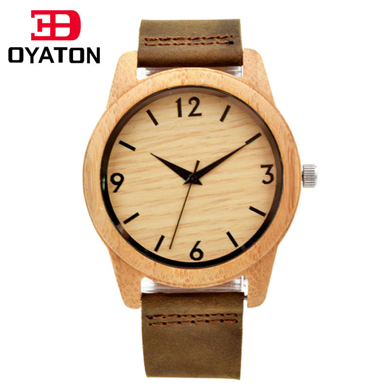 Wooden Watches Quartz Movement Wristwatches Genuine Leather StrapBamboo Watch Case For Men And Women Bracelet Creative