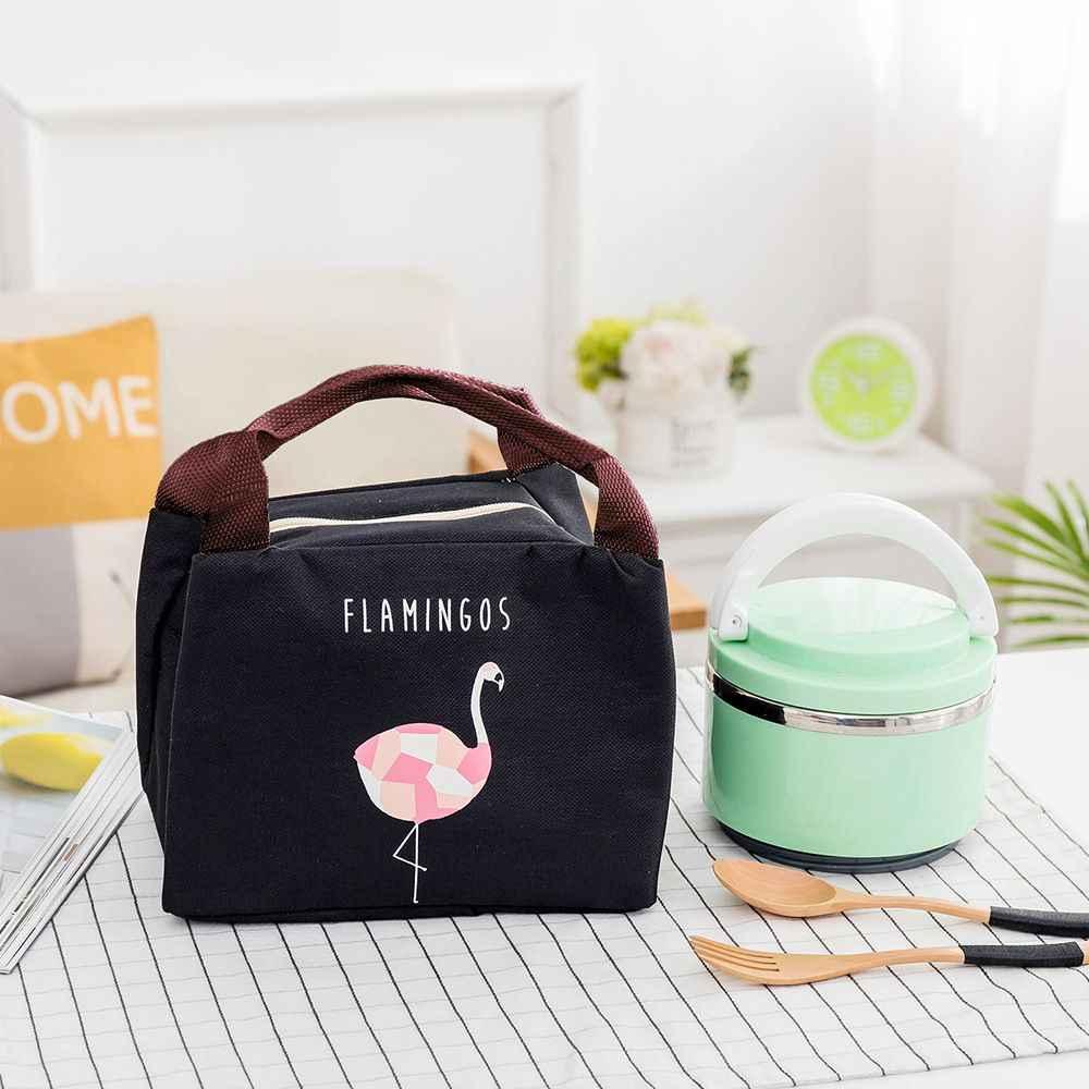 Flamingo tote thermal bag black waterproof oxford beach lunch bag food  picnic bolsa termica women jpg 9e9359a3be60f