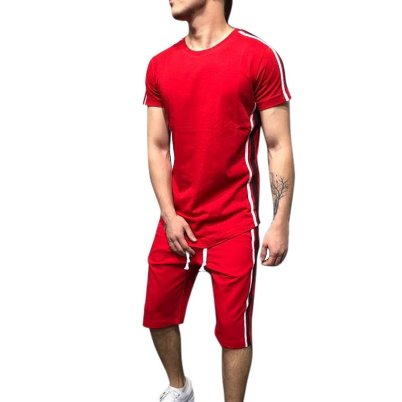 Fashion Solid Striped Men Set Patchwork Summer Mens Sportwear Casual Short Sleeve T-Shirt Tracksuit Drawstring Shorts Suit Male