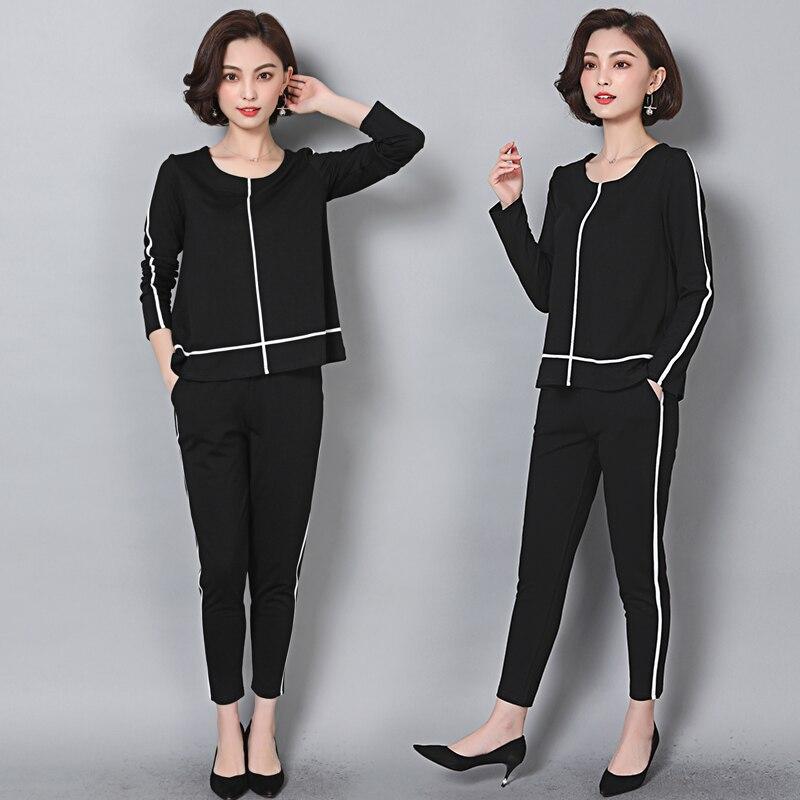 Luoyifxiong Korean Tops + Pants 2 Piece Set Women Casual Loose Two Piece Set Plus Size L 5XL Office Suit Set Womens Tracksuit
