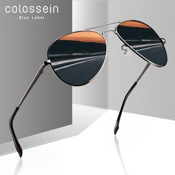 COLOSSEIN Sunglasses Men Polarized Metal Pilot Women Brown Lens Fashion UV400 Classic Eyewear Vintage Glasses