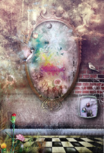 Laeacco Fairy Tale Mirror Birds Brick Wall Photography Backgrounds Customized Photographic Backdrops For Photo Studio