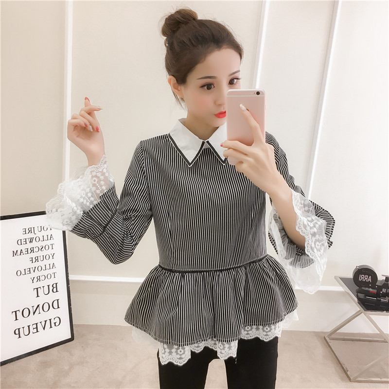 Fashion Women Lace Flare Sleeve Shirts Vintage Black Striped Blouse Sweet Ruffled Chic Blusa Female Elegant OL Slim Tops Shirts