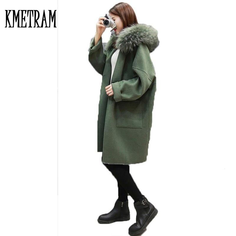 100% Echte Waschbär Pelz Weibliche Winter Jacke Frauen Woolen Oberbekleidung Mittellange Schwarze Strickjacke Mantel Kleidung Wuj1021 HöChste Bequemlichkeit