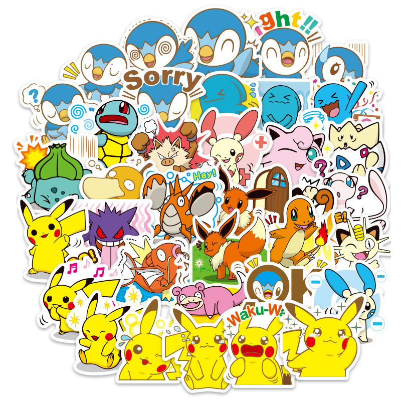 80 Pcs Cartoon Pikachu Stickers For Notebook PC Skateboard Bicycle Car Motorcycle DIY Waterproof Children Toy Sticker F4