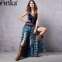 Artka Women S Aegean Sea 2015 Summer Vintage Fresh Cotton Casual Pants Full Length Spliced Blue