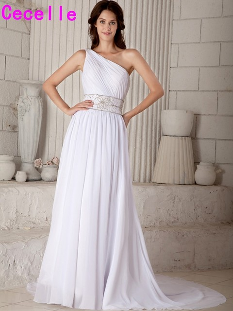 Elegant One Shoulder Beaded Chiffon Beach Wedding Dresses Ruched Informal Summer Bridal Gowns With Train