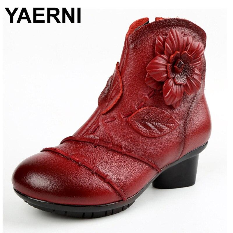 YAERNI снег дождь теплые модные женские ботинки обувь Мех животных плюшевые зимние резиновые круглый носок ботильоны на молнии корова пояса и...