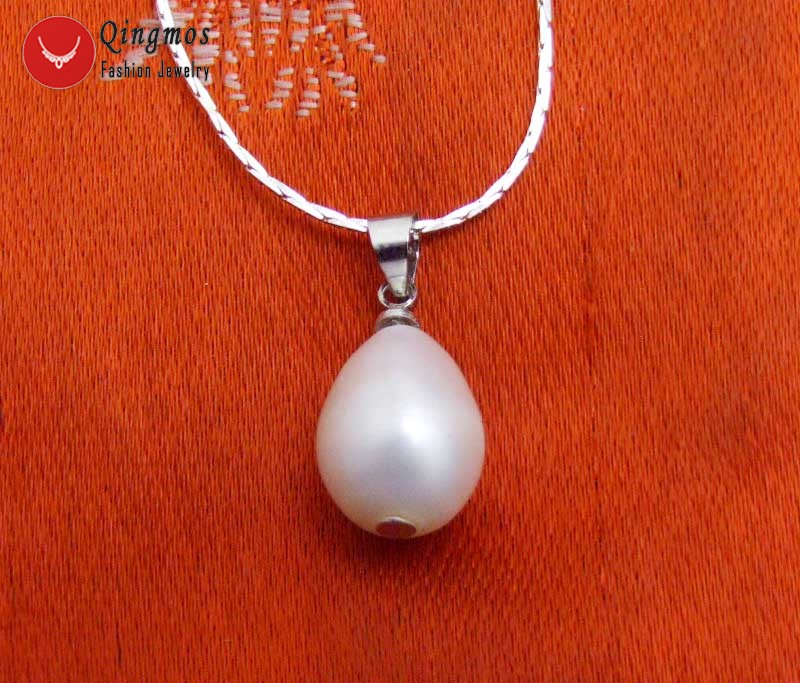 Qingmos 10-11mm White Rice Natural Pearl Pendant & Necklace with Silver Plated 17 Chain Trendy Chokers Necklace for Women-n6346