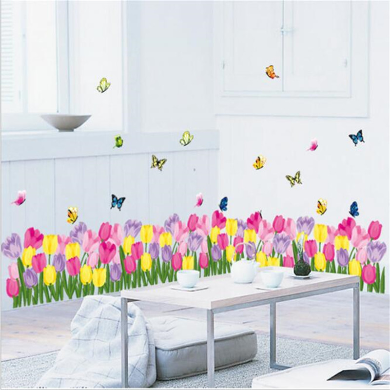 1PCS Tulip Wall Sticker For Romantic Wedding Room Bedroom Bedside Baseboard Sticker Glass Sticker 50 70CM Mural Wall Decoration in Wall Stickers from Home Garden