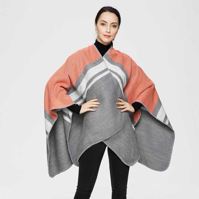 2016 New Arrival Warm Striped Spell color Thicken Women Poncho Cape Winter Cashmere Shawls and Scarves PJ009
